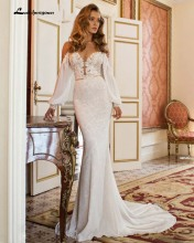 Custom Made Sexy Backless V-Neck Mermaid Wedding Dresses Beading Appliques Bride Gown Luxury Lace Chiffon Vestido Plus Size