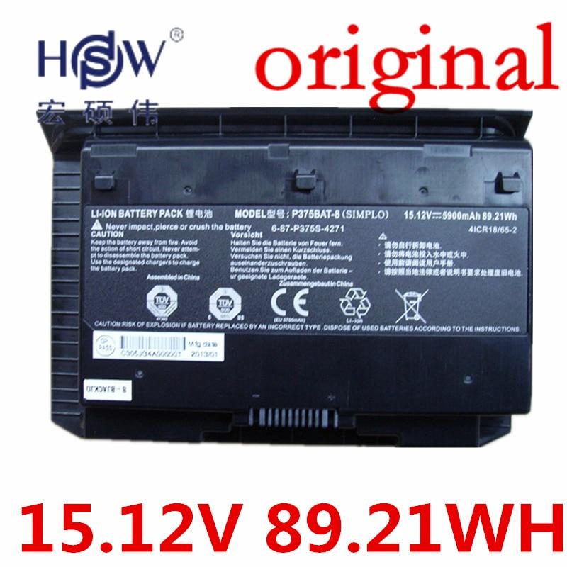HSW   15.12V 89.21WH laptop Battery For NP9390 P375S P375BAT-8 6-87-P375S-4271 4ICR18/65-2 bateria akku original rechargeable clevo w370bat 8 li ion battery 6 87 w370s 4271 6 87 w37ss 427 k590s laptop battery 14 8v 5200mah 76 96wh