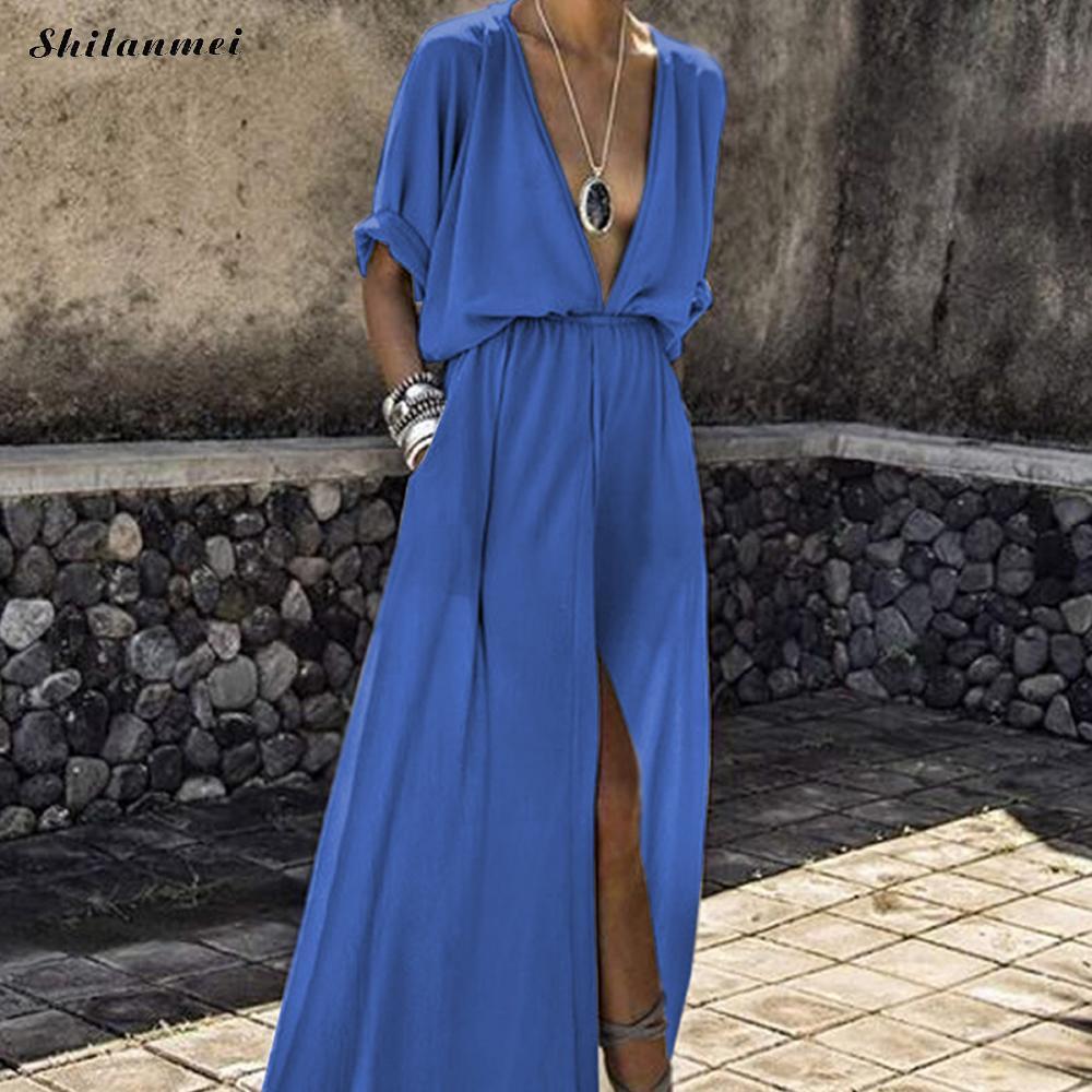 Summer Long Maxi Shirt Dress Women 2018 Plus Size Elegant Loose Beach Dresses Female Vintage Sexy V Neck Split Boho Vestidos 3xl