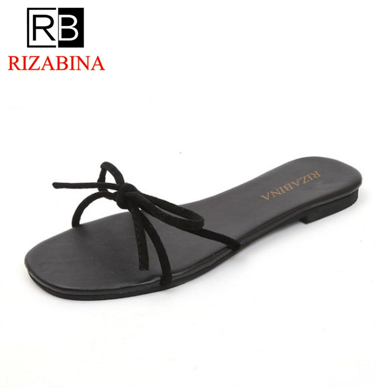 RizaBina Women Slippers Sandals Consice Flats Daily Shose Bowknot Summer Club Beach Sandals Casual Vacation Footwear Size 35-39