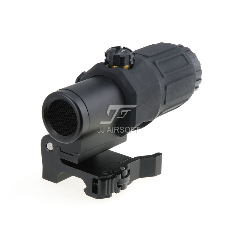 JJ Airsoft 3X Magnifier with Switch to Side STS Quick Detachable / QD Mount & Killflash / Kill Flash (Black / Tan)