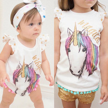 2017 Summer Matching Cotton Clothes Big Sister T-shirt Vest Little Sister Romper Outfits Set цены онлайн