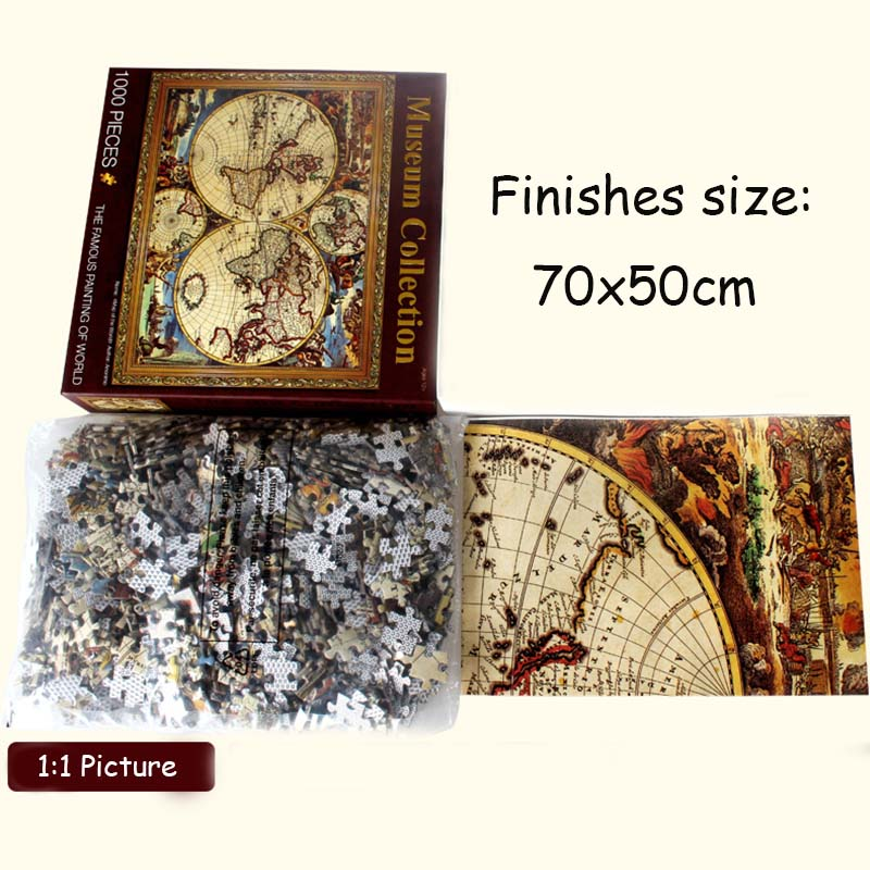 1000 Pieces Adult Puzzle Famous World MapThicker Paper Puzzle Cartoon Plant World Map Puzzles For Children Educational Toys Gift
