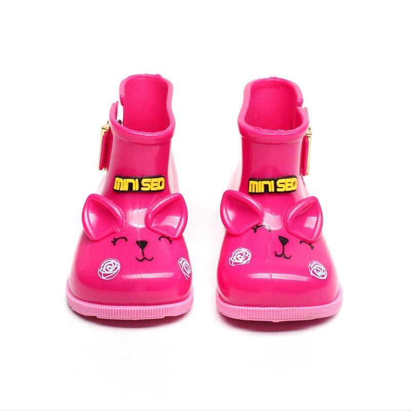 Children Toddler Rain Boots Cat Pattern Cute Cartoon Buckles Waterproof Antiskid Low Heel Tube Mid-calf Boots