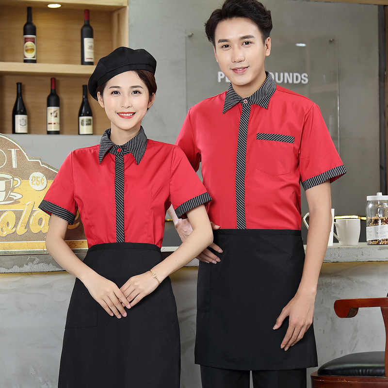 Короткий рукав официант в отеле форма летнее кафе Униформа официантки рубашка + фартук форма повара ресторана Кухня Повседневная обувь куртка 90