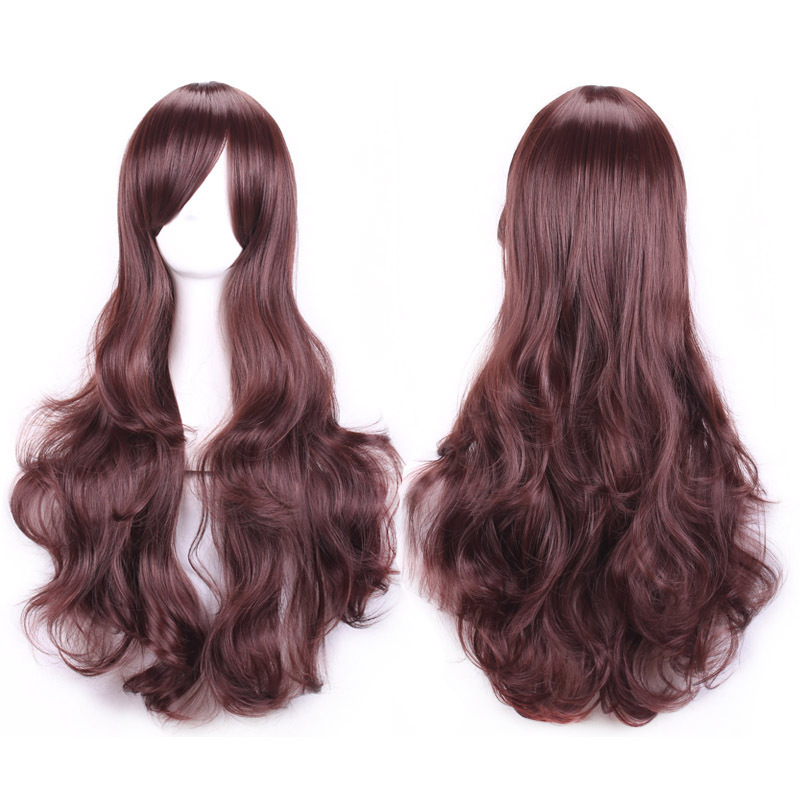70 cm Anime Cosplay Wigs Full Long Curly Wavy Women Fashion Sexy Dark Brown Synthetic Hair Wig