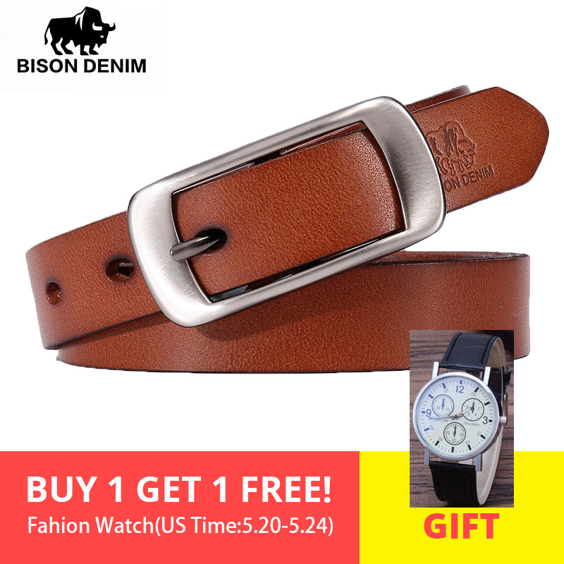 BISON DENIM Female   Belt   Genuine Leather Women   Belt   Pin Buckle Fashion Leather Strap   Belt   Width 2.3 cm N60215