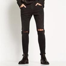 Мужская мода Пят Джастин Бибер Брюки Черный Темная Марка Тонкий байкер отверстие прямые джинсы Kanye West брюки джинсы Cooo Coll