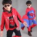 Crianças Menino Spidermen Treino Sportwear Roupas Homem Aranha Capuz Colete Camisa Calças 3 pcs Spiderman Terno Conjunto de Roupas Para Crianças