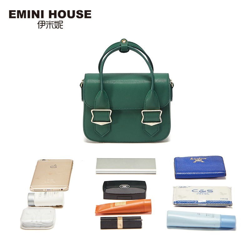EMINI HOUSE Split Leather Flap Handbag Women Shoulder Bag Metal Decoration Crossbady Bags High Quality Women Messenger Bag