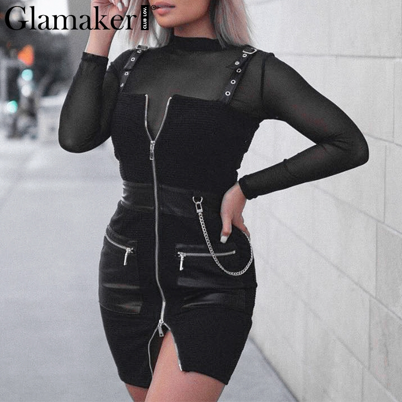 a91ae39789 Glamake Sexy black sleeveless bodycon dress Women zipper pu patchwork mini  dress Female summer chain party