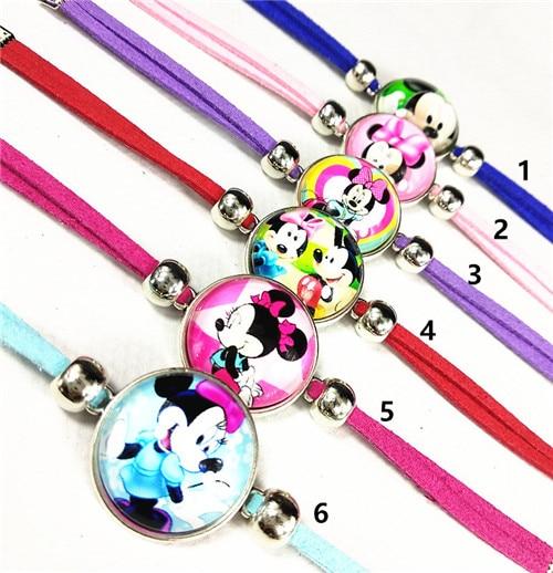 Image 4 - 24pcs/lot Princess Snow White, Rapunzel,Princess Tiana,Ariel,Cinderella Merida glass cartoon bracelets children's bracelets-in Charm Bracelets from Jewelry & Accessories