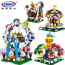 XINGBAO 1106 1107 City Amusement Park Series Ferris Wheels Merry Go Round Pirate Ship Building Blocks Bricks Compatible Legoings wheels go round level 1