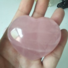 A 120-170g Natural rose quartz crystal heart healing household ornament