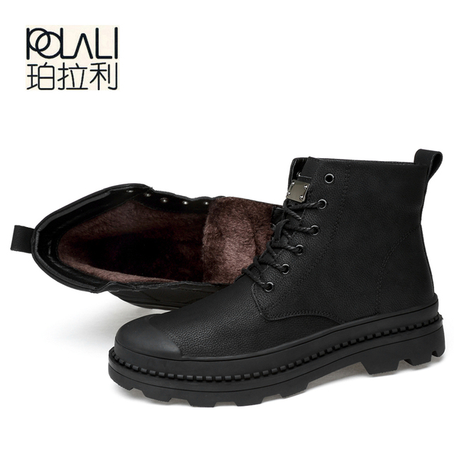 POLALI Male Boots Large Winter Shoes Big Size13 for Men  Rubber Pu with Fur Casual TACTICAL Boot Mens Winter Footwear Bot Work
