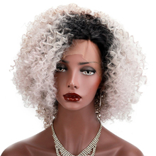 Ombre Grey Synthetic Lace Front Wigs For Women Heat Resistant Short Bob Natural Kinky Curly Afro Lace Wigs 180% Density