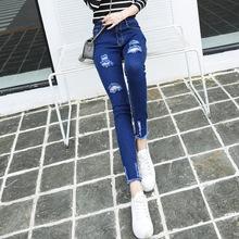 Hot Woman Washed Vintage Thin Black Slim Pencil Pants Blue Leggings Denim Skinny Pants High Waist Jeans Female Trousers