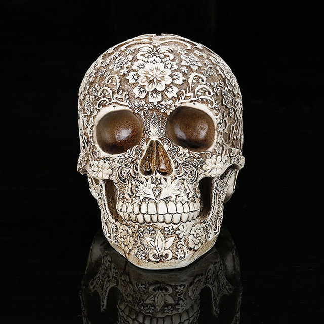 Home Decor Resin Craft Plum Blossoms Sculptures Garden Statues personality Art Carving Statue Medical Model Human Skull 1