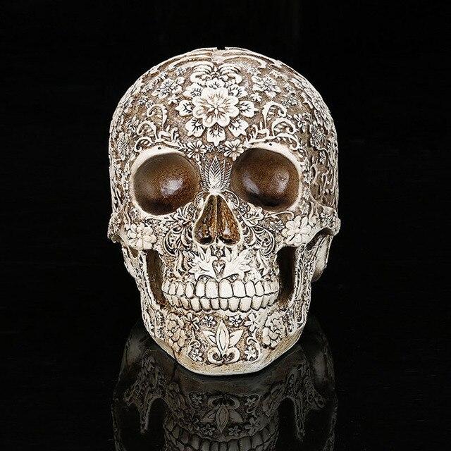 Home Decor Resina Artesanato Esculturas Estátuas Do Jardim de Flores de Ameixa Arte Criativa Escultura Estátua Modelo Médico Modelo de Crânio Humano
