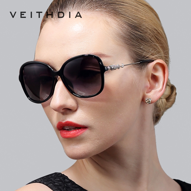 VEITHDIA Leopard Retro TR90 Sieviešu saulesbrilles Polarizētas sieviešu dizaineru saulesbrilles Eyewear Aksesuāri sievietēm 7026