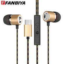 FANBIYA in Ear Earphone Type c Earphones with Mic for xiaomi 6 Sport Headset Type-c Handsfree Earbuds for Letv 2 pro Max2 x820