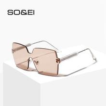 SO&EI Retro Rimless One-Piece Oversized Sunglasses Women Fashion Vintage Jelly Color Men Sunshade UV400 Sun Glasses Gafas De Sol