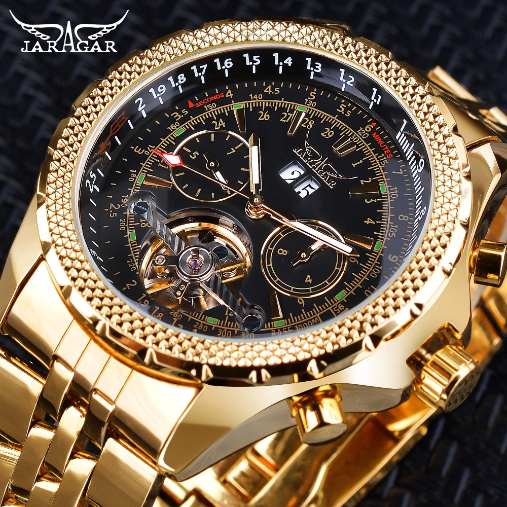 Jaragar Tourbillion Black Golden Clock Big Dial Calendar Display Steampunk Mechanical Watches Top Brand Luxury Luminous Hands