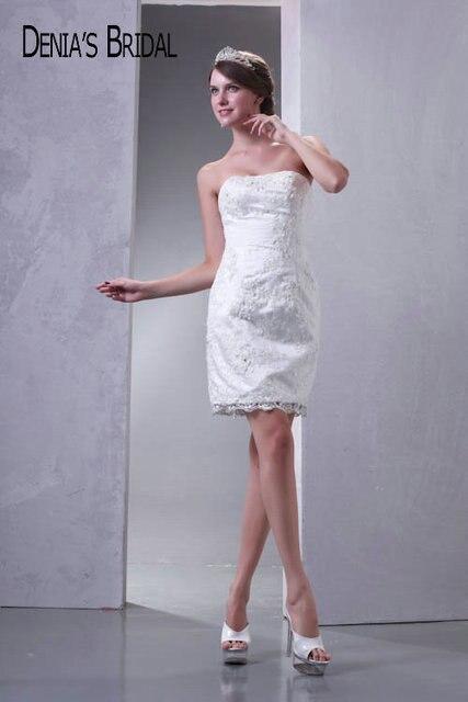 2017 Real Photos Strapless Sheath Mini Wedding Dresses Beaded ...