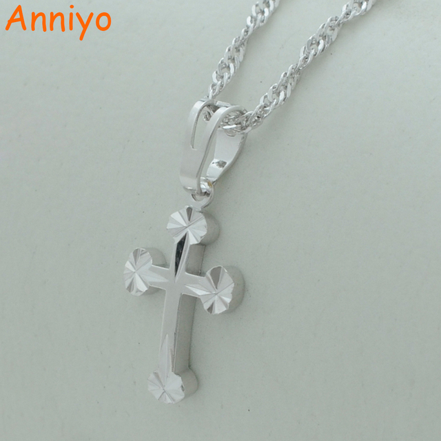 Anniyo small silver color cross pendant necklaces jewelry women anniyo small silver color cross pendant necklaces jewelry women girlscatholicism crosses catholic church mozeypictures Choice Image