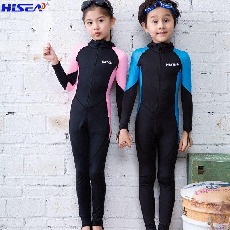 Hisea dei bambini tessuto lycra Bambini Mute di Snorkeling calore Manica lunga Nuoto Diving Suit Tuta Swimwear Cappello opzionale