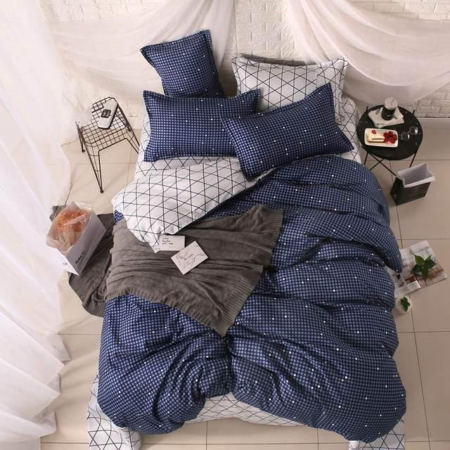 Осень-зима постельного белья Темно-синие маленький желание постельное белье Стёганое Одеяло Обложка Плоский лист наволочки Queen King 4 шт. Твин 3 шт.
