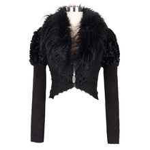 Devil Fashion Swallow Tail Corseted Gothic Short Jacket Long Sleeve Alternative Coat for Women Warm Jacket with Faux Fur Collar