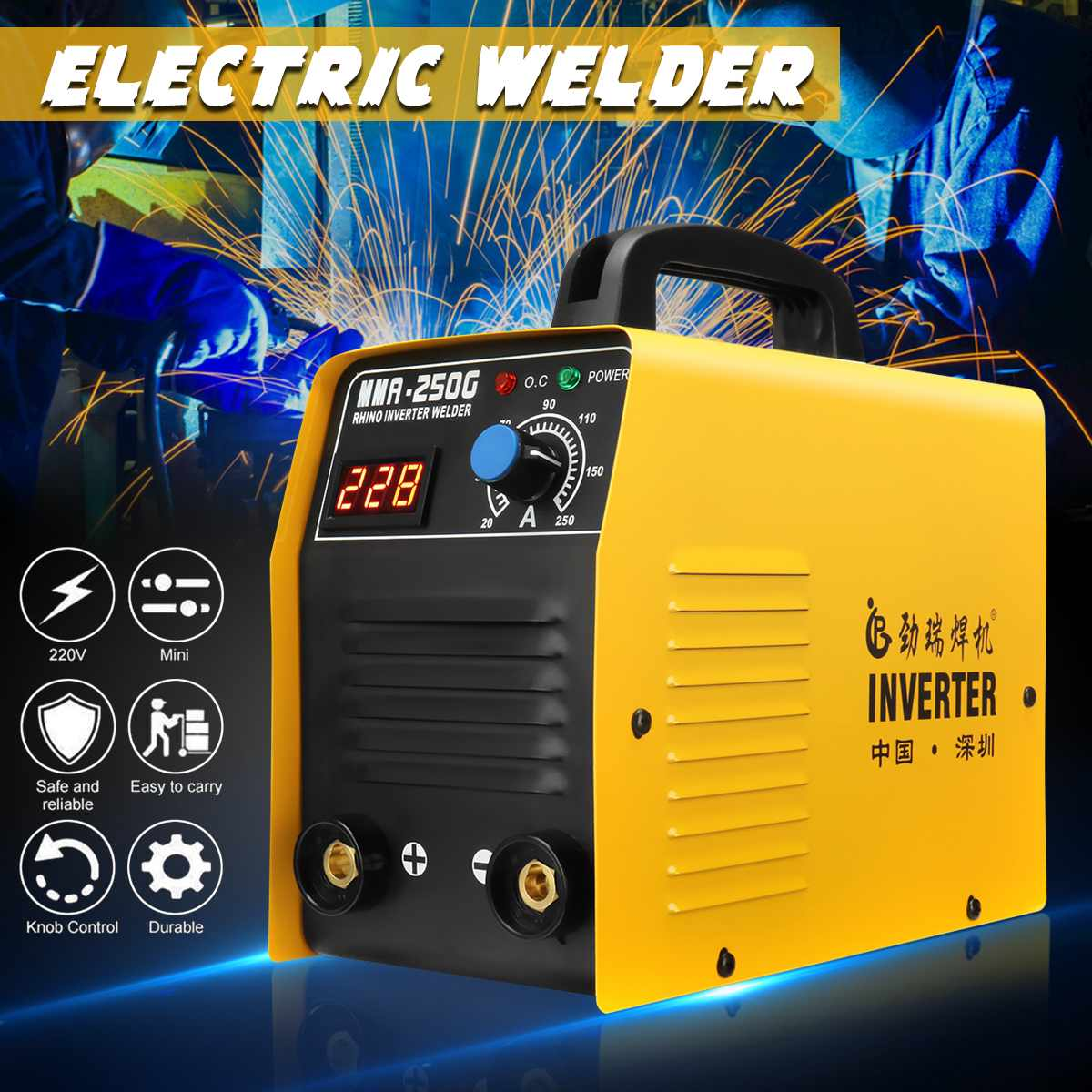 MMA-250G 220V Electric Arc Welders  IGBT Inverter MMA ARC Welding Soldering Machine Welding Equipment For Home Beginner