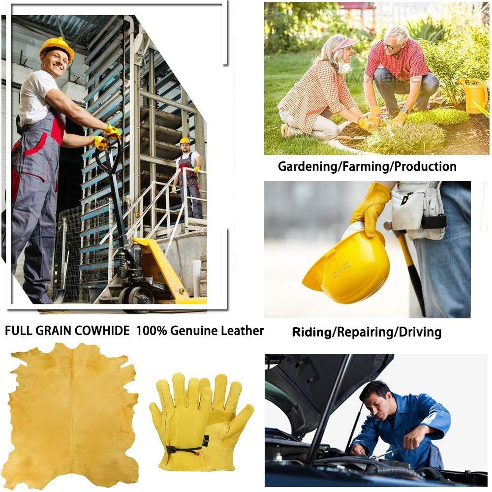 OZERO, nuevos guantes para Conductor de trabajo para hombres, cuero de vaca, protección de seguridad, uso de seguridad, guantes de trabajo de soldadura cálidos para hombres 0003