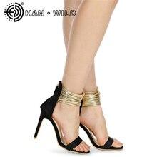 Flock Leather Gladiator Women Pumps Peep Toe Ladies Sandals