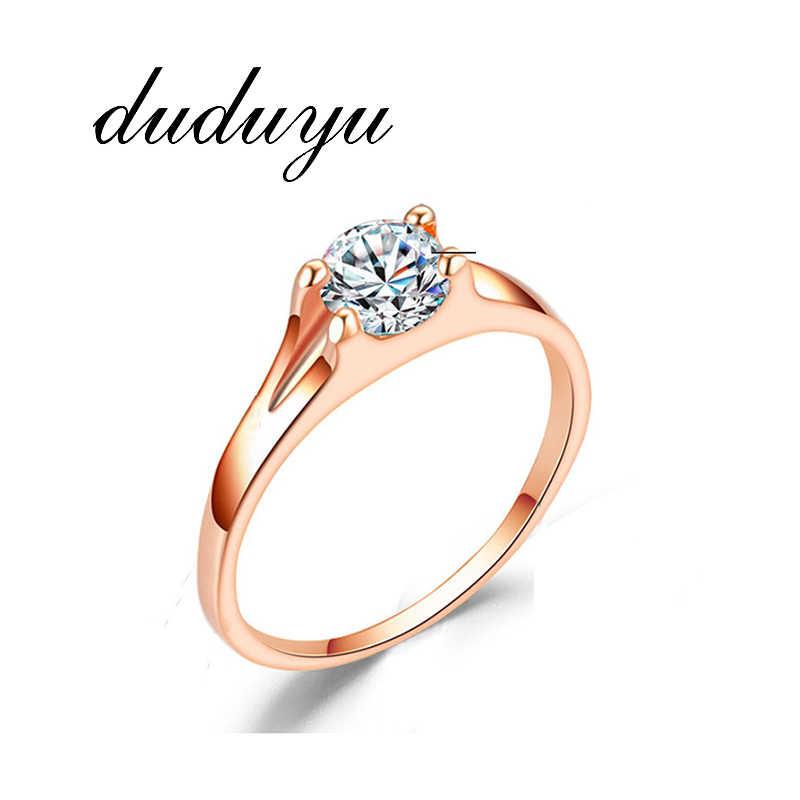 Top คุณภาพ Handmade ผู้หญิงแหวนแฟชั่น AAA CZ คริสตัล Rose Gold สีแหวนเจ้าสาวเจ้าสาวจัดงานแต่งงานของขวัญ