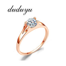 Top Quality Handmade Women Ring Fashion AAA Austrian CZ Crystal Rose Gold Color Rings Party Bride Princess Wedding Band Gift(China)