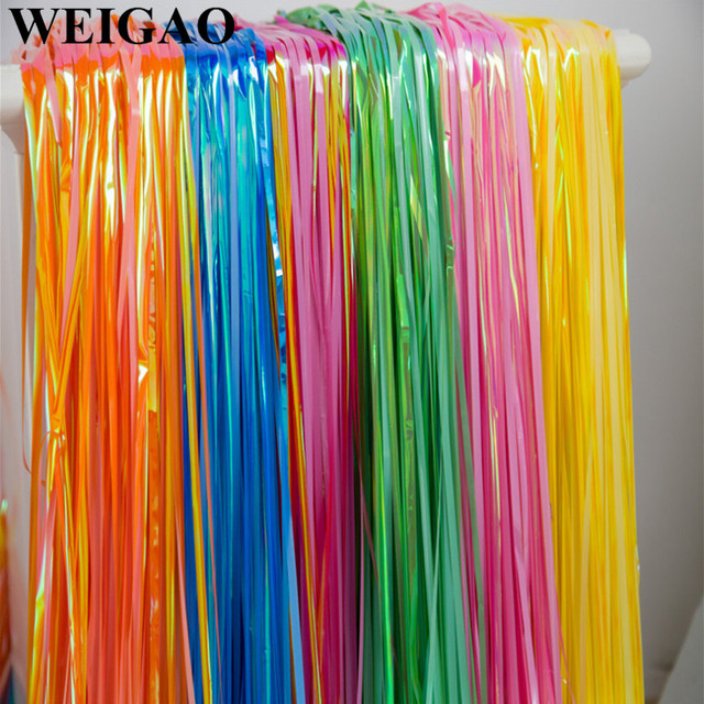 WEIGAO 100200cm Party Curtain Backdrop Rainbow Color Metallic Foil Fringe Curtains Backdrops Wedding Birthday