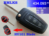 RMLKS Replacement Keyless Entry Fob Flip Folding Remote Key 433MHz 4D63 ID83 Chip Fit For Focus Fiesta With HU101 Blade Car Key