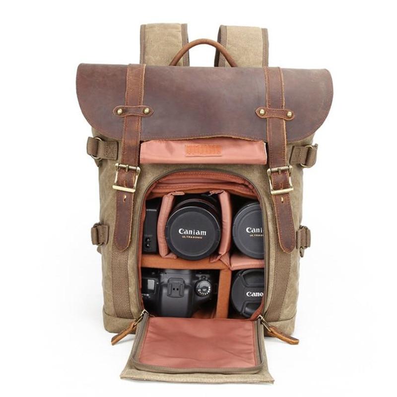 2019 Sleek Minimalist Shoulder Camera Bag SLR Camera Bag Waterproof Batik Canvas Retro Fashion College Digital Camera Backpack