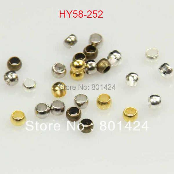 500 peças/lote 58-252 2mm prata ouro bronze ródio grânulos de crimpagem cobre jejuamente encontrando frisador final fazendo para jóias