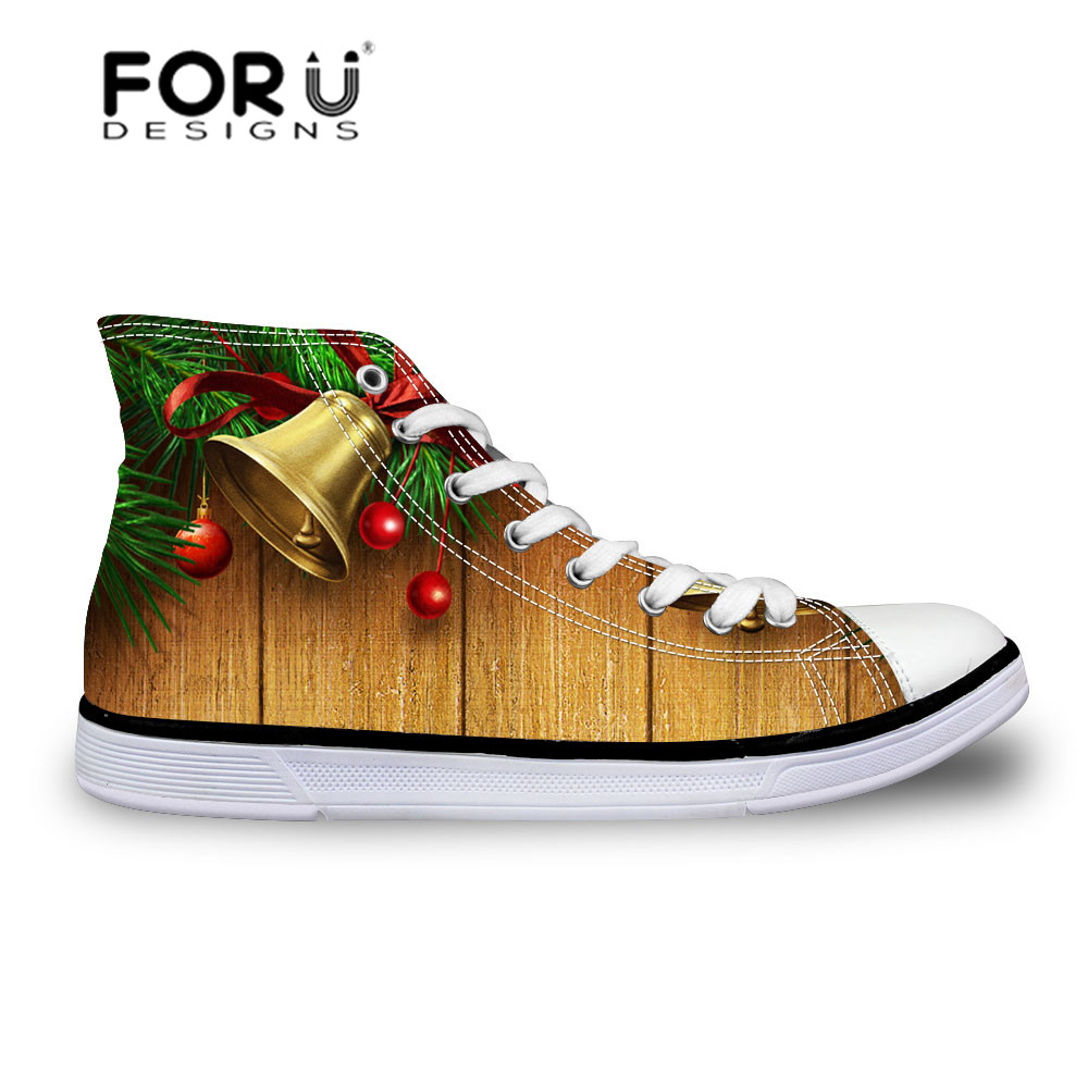 ФОТО FORUDESIGNS Fresh Casual High Canvas Shoes for Men Breathable Leisure Flat Platform Shoes Christmas Jingle Pattern Chaussure