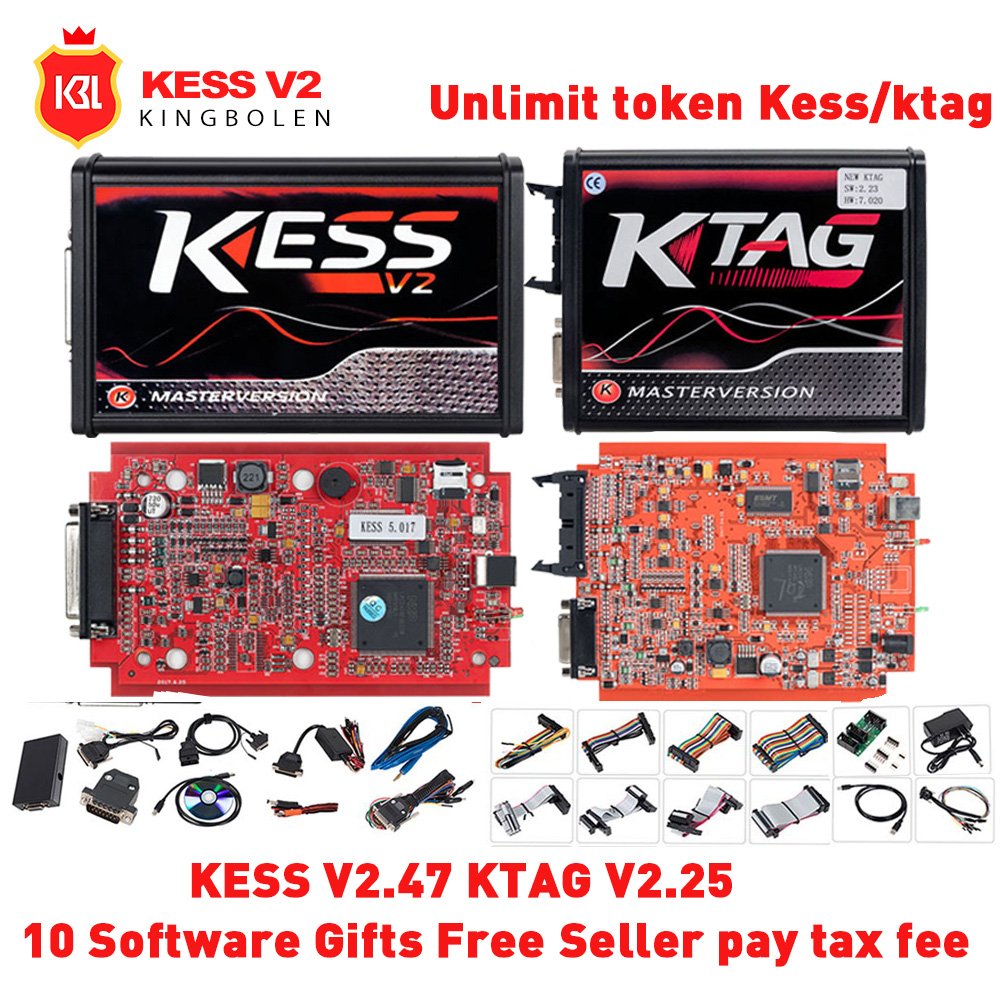 KESS V2 V2.47 V5.017 EU Red OBD2 Manager Tuning Kit KTAG V2.25 V7.020 4 LED Master Kessv2 LED BDM Frame K-TAG ECU Programmer(China)