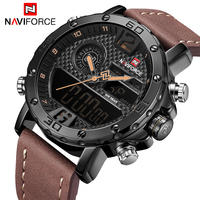 새로운 럭셔리 브랜드 naviforce 남자 군사 스포츠 시계 남자 가죽 쿼츠 시계 남성 led 아날로그 디지털 시계 relogio masculino