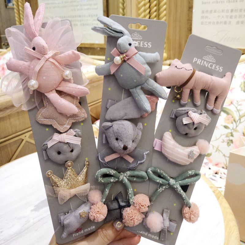 New 5pcs/set Girls Flowers Bowknot Hairpins Baby Cute Cartoon Hair Clips Kids Girls Handmade Barrettes Accessories Headwear Gift