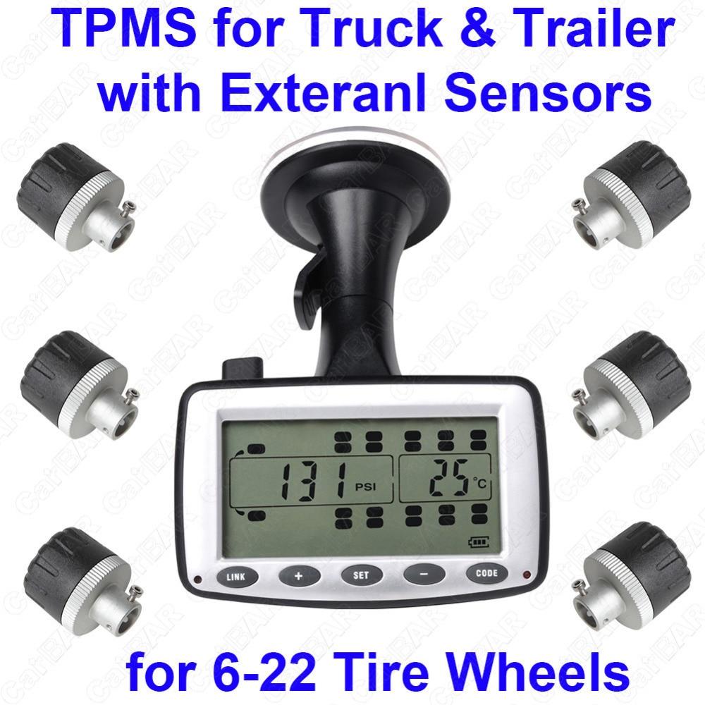Шин Давление мониторинга Системы TPMS для грузовиков и прицеп с внешних датчиков Поддержка Высокая Низкая Давление Температура сигнализации