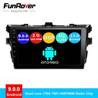 FUNROVER android 9.0 2.5D+IPS car dvd multimedia player For Toyota Corolla E140/150 2006 2013 radio gps navigation system navi