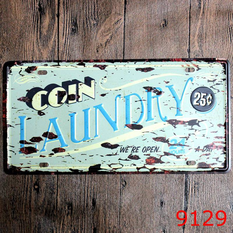 Direct selling LOSICOE Vintage license plate LAUNDRY Wall art craft metal painting vintage Iron for bar home decor 15X30 CM