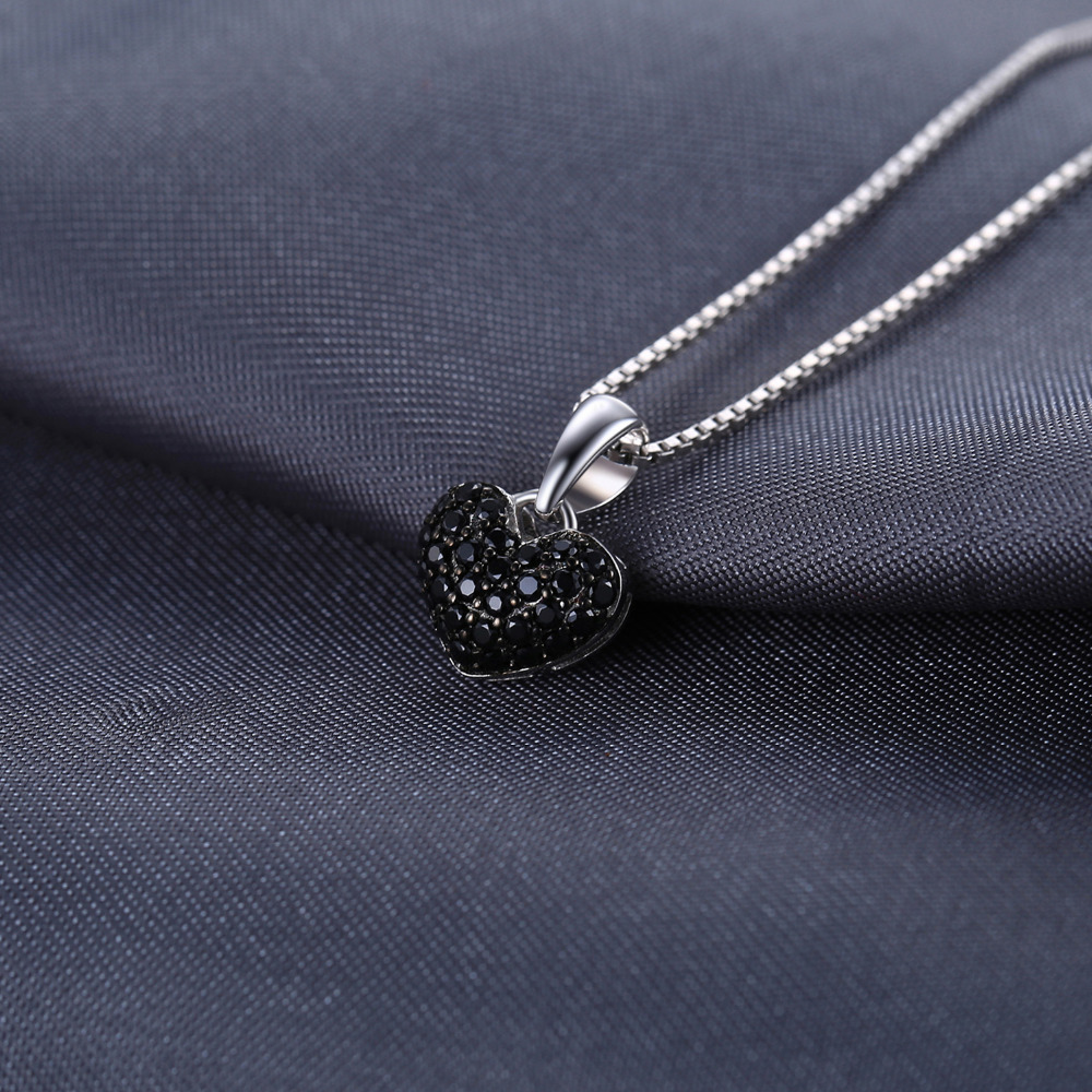 JPalace Heart Natural Black Spinel Pendant Necklace 925 Sterling Silver Gemstones Choker Statement Necklace Women Without Chain in Necklaces from Jewelry Accessories