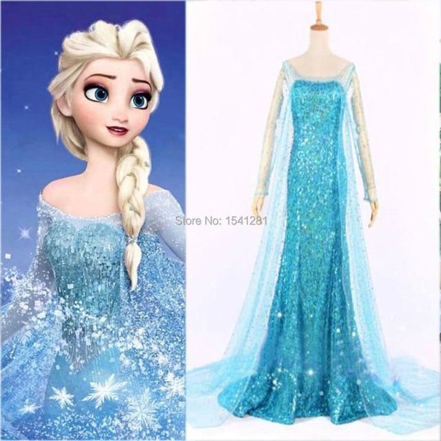 Frozen Elsa Queen Princess Adult Women Dress Blue Costume Elsa ...